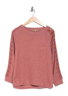 Democracy Boatneck Lace Inset Sleeve Sweater