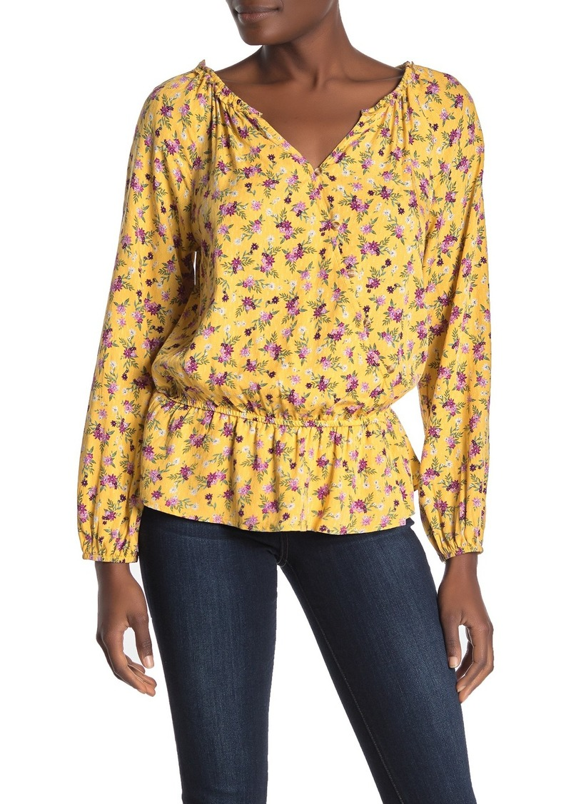 Democracy Button Front Floral Print Top