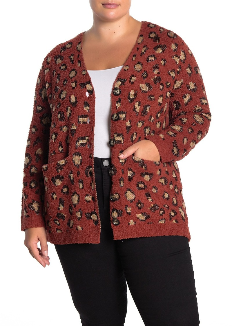 Democracy Leopard Print Button Front Cardigan (Plus Size)