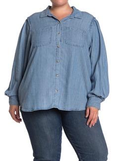 Democracy Chambray Blouson Sleeve Button Front Shirt