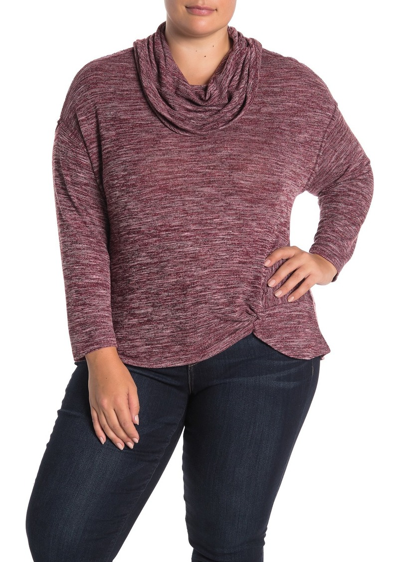 Democracy Cowl Neck Front Twist Top (Plus Size)