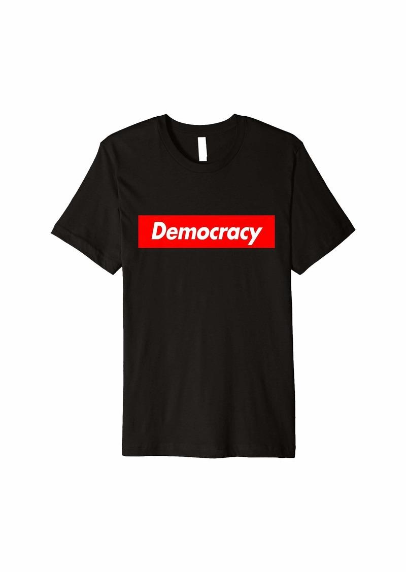 Democracy - Red Box Parody Logo Meme Funny Premium T-Shirt