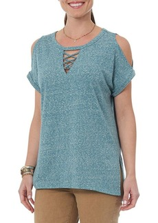 Democracy Cold-Shoulder Lace-Up Top