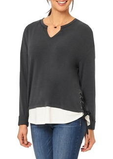 Democracy Dolman-Sleeve Lace-Up Top