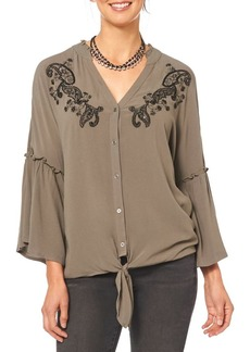 Democracy Embroidered Flounce Sleeve Blouse
