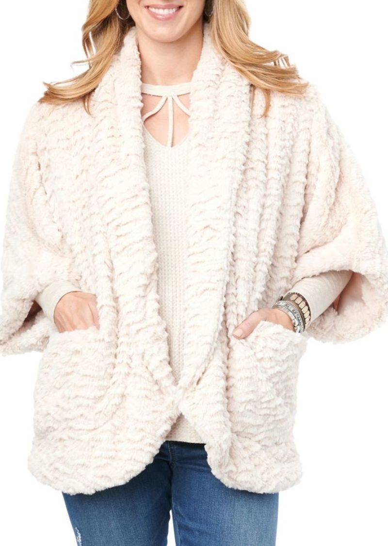 Democracy Faux Fur Open Cardigan