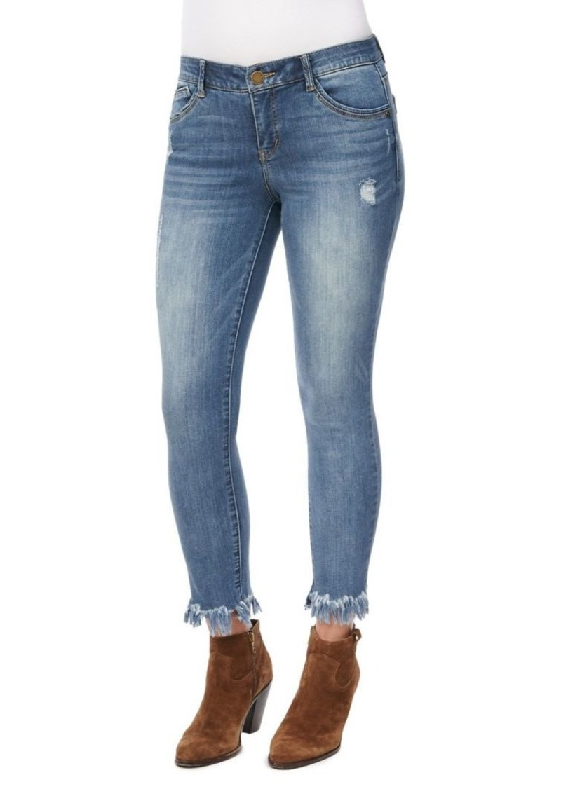 Democracy Fringed Cuff Cropped Jeans