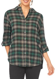 Democracy Plaid Embroidered Back Cotton Button-Down Shirt