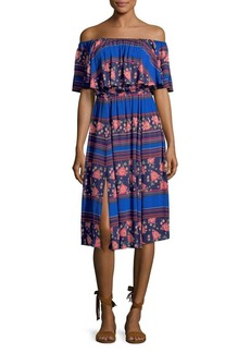 Democracy Printed Off-Shoulder Popover Dress