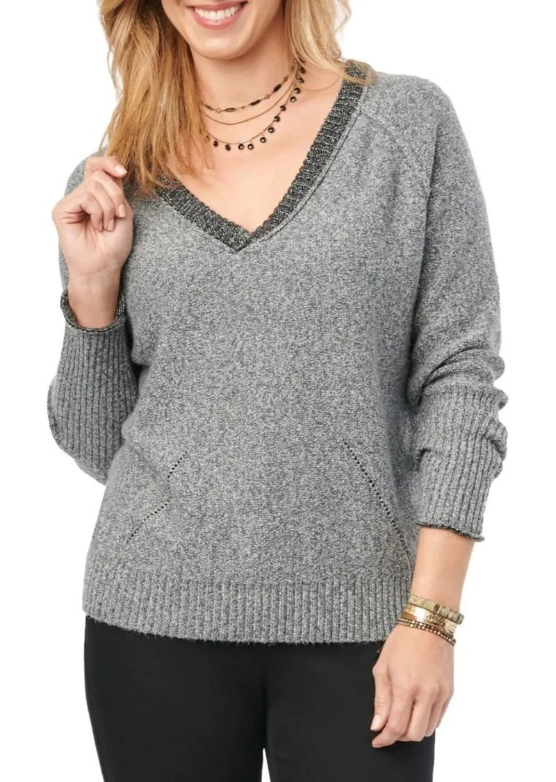Democracy Raglan-Sleeve Heathered Sweater