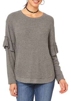 Democracy Ribbed Long Sleeve Ruffle Top