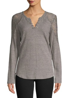 Democracy Textured Lace-Trimmed Top