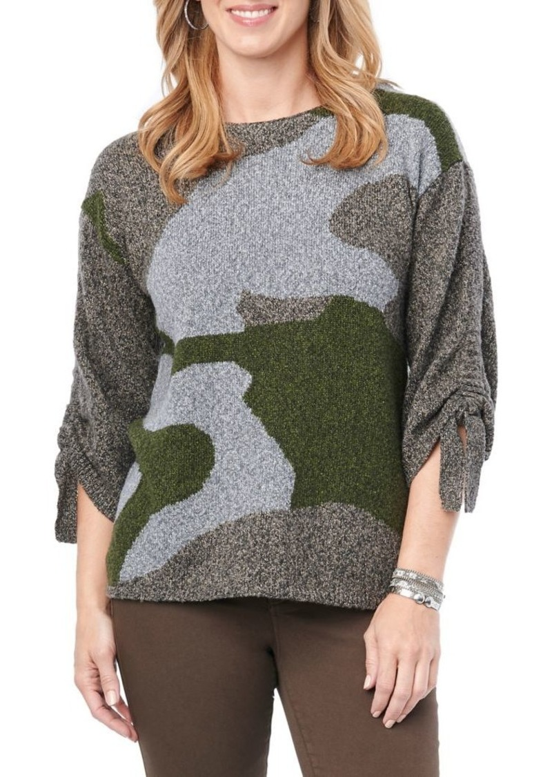 Democracy Tie Ruched Sleeve Camo Sweater