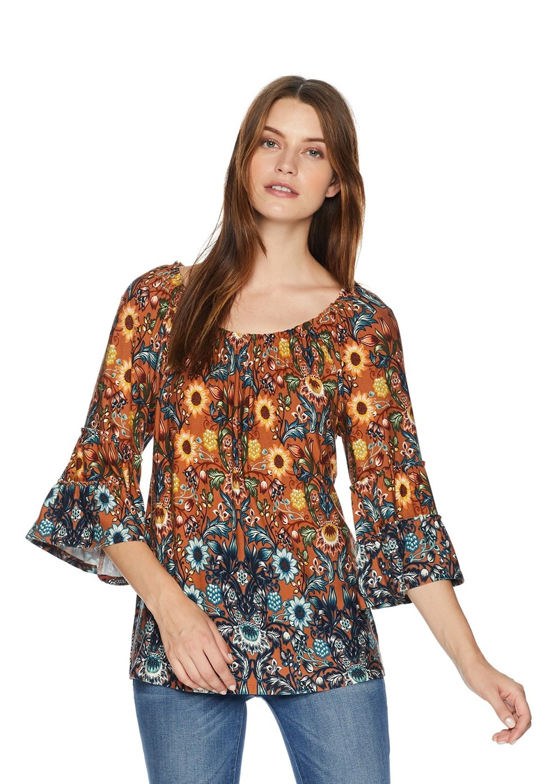 Democracy Womens 3//4 Sleeve Top with Cleo Neck and Embroidery