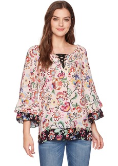 Democracy Women's 3/4 Flounce Sleeve Top  S