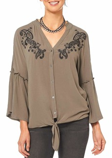Democracy Women's 3/4 Sleeve Embroidered Blouse w Tie Front ash Green XL