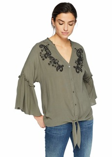 Democracy Women's 3/4 Sleeve Embroidered Blouse w Tie Front ash Green XS