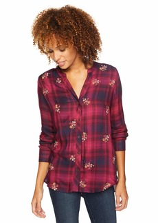Democracy Women's 3/4 Sleeve Embroidered Plaid TOP  XS