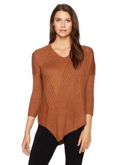 Democracy Women's 3/4 Sleeve Mixed Rib Asymmetric Vneck Sweater  L