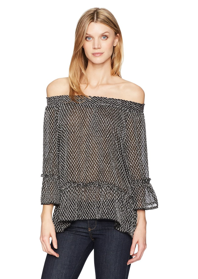 Democracy Women's 3/4 Sleeve Off The Shoulder Flounce Top  XS