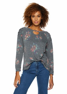 Democracy Women's 3/4 Sleeve Printed Sweatshirt with lace up Shoulder  L