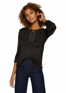 Democracy Women's 3/4 Sleeve Shirt w Lace Up Neck  S
