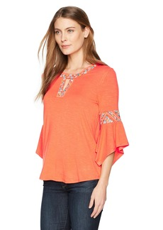 Democracy Women's 3/4 Sleeve Top With Cleo Neck and Embroidery  S