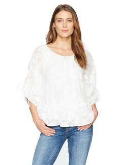 Democracy Women's 3/4 Sleeve Top with Flounce Hem  S