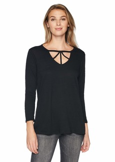 Democracy Women's 3/4 Sleeve V Cut Out Trapeze TOP  L