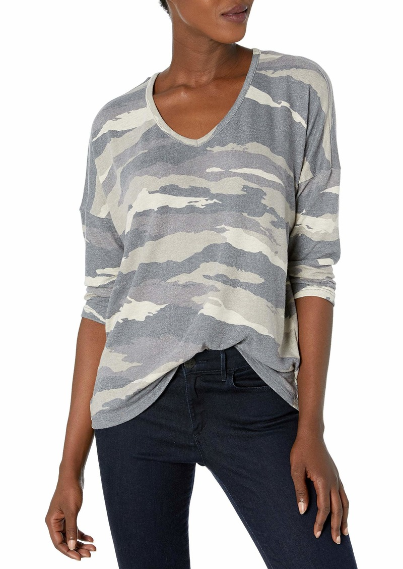 Democracy Women's 3/4 Sleeve V Neck Printed Top  XS