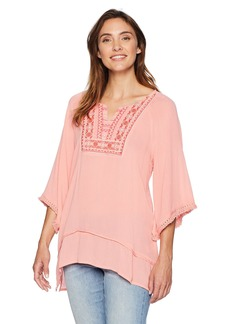 Democracy Women's 3/4 SLV Cold Shoulder Top W Emb and Fringe Trim  L
