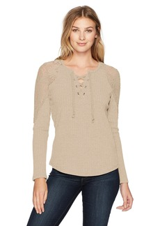 Democracy Women's 3/4 Split SLV Tee W/Lace Overlay  XS