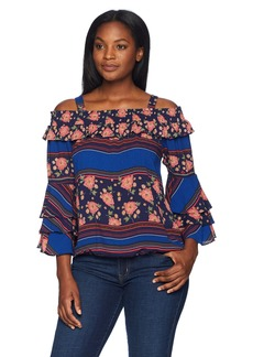 Democracy Women's 3/4 Triple Tier SLV Smocked Flounce Neck Top  XL