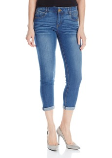 """Democracy Women's """"Ab""""Solution Booty Lift Crop Jeans Blue"""