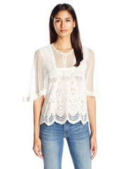 Democracy Women's Angel Slv Schiffly Embroidered Top with Smocked Neckline  L
