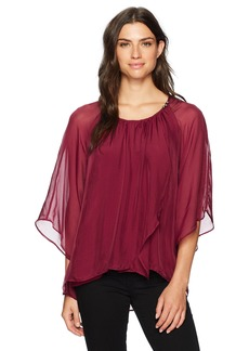 Democracy Women's Bell Sleeve Asymmetrical Blouse  L