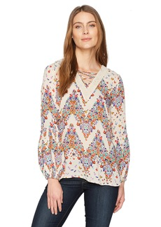 Democracy Women's Blouson Sleeve Top With Lace up Detail  L
