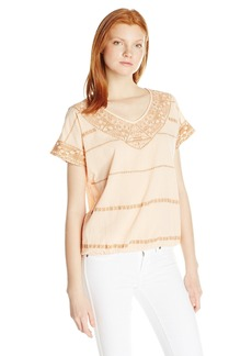 Democracy Women's Bubble Hem in Crinkled Texture with Embroidery and Extended Sleeve