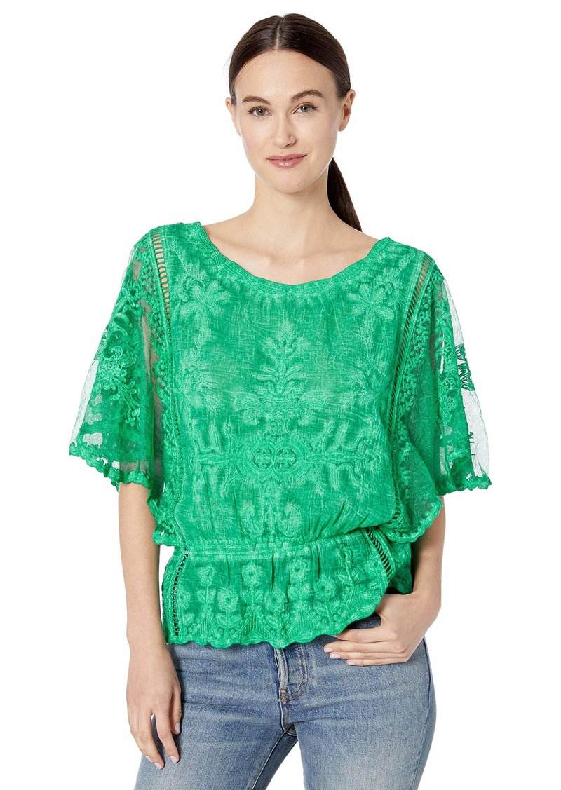 Democracy Women's Butterfly Sleeve Peplum Crochet Top  XS