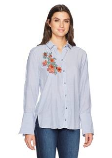 Democracy Women's Button Down High Cuff L/s Pinstripe Shirt  M
