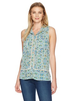 Democracy Women's Button Up Collared Slvless Tank  XS