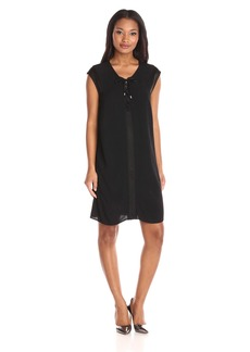 Democracy Women's Cap Sleeve Lace up Dress