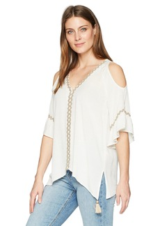 Democracy Women's Cold Shoulder Hanky Hem Top  L