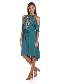 Democracy Women's Cold Shoulder S/s Drawstring High Low Dress  M