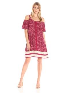 Democracy Women's Cold Shoulder S/s Spliced Boarder Print Dress  L