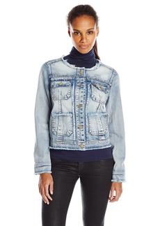 Democracy Women's Collar Less Denim Jacket