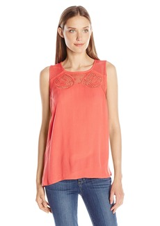 Democracy Women's Crinkled Rayon Button Backed Woven Tank with Applique and Lace Details