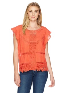 Democracy Women's Crochet Top with Flutter SLV and Tank  XS