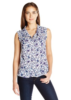 Democracy Women's Cuffed Extended Sleeve Printed Woven Button Front Shirt