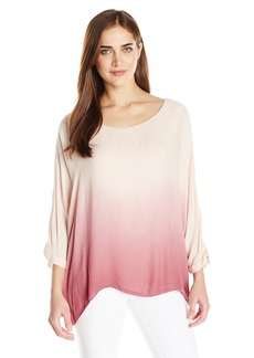 Democracy Women's Dip Dyed Knit Lined Woven Twofer Square Top
